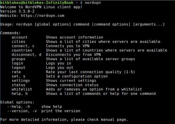 Alle Optionen, die der Linux-Client von NordVPN zur Verfügung stellt.