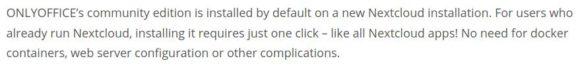 Angeblich wird die Community Edition von ONLYOFFICE installiert