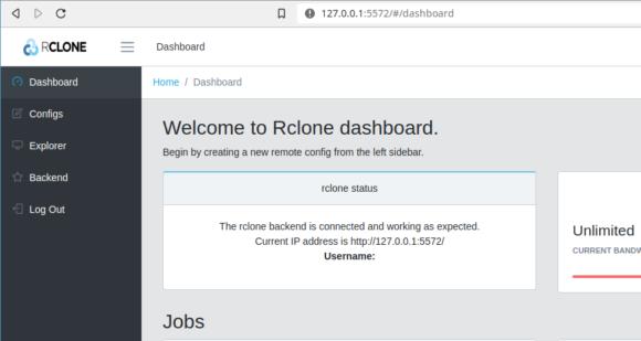 rclone als GUI im Webbrowser