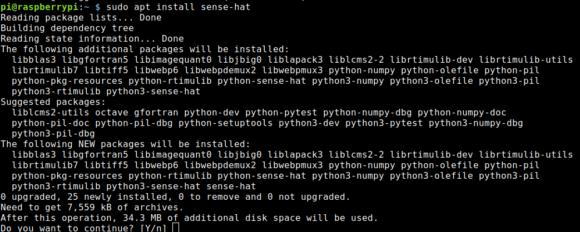 Damit wir den Sense HAT ansprechen können, müssen wir das Paket sense-hat installieren