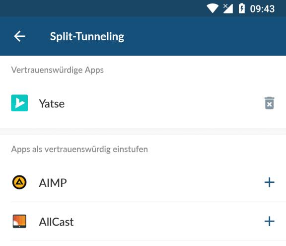 Mit Split-Tunneling Ausnahmen konfigurieren