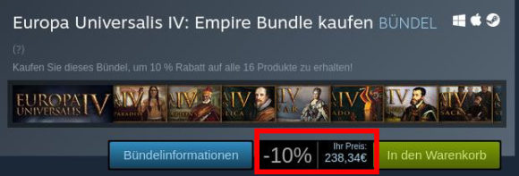 Europa Universalis IV Bundle kostet bei Steam fast 240 €