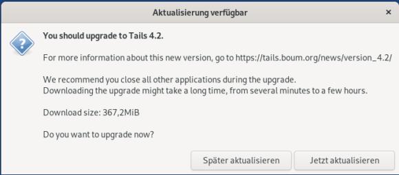 Aktualisierung auf Tails 4.2 ist verfügbar