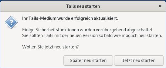 Erfolgreich auf Tails 4.2 aktualisiert
