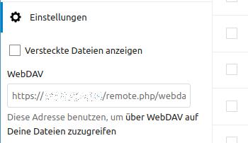In den Einstellungen ist die WebDAV-URL versteckt