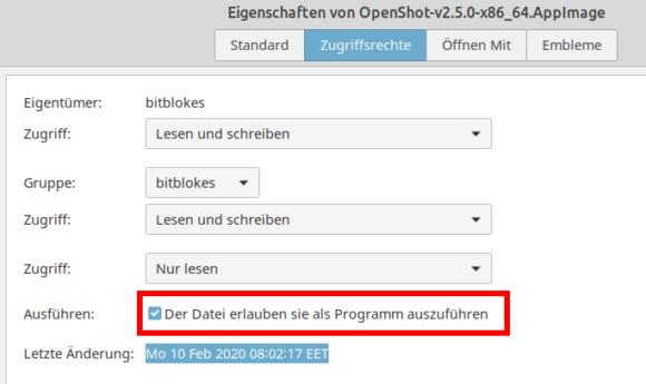 OpenShot 2.5.0: als Programm ausführen