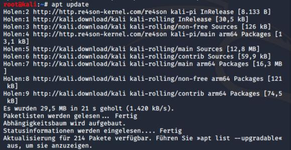 Das Paket-Management unter Kali Linux erfolgt via apt