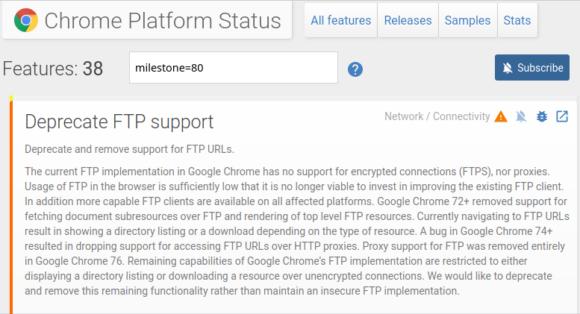 FTP-Unterstützung wird bei Chrome 80 deaktiviert