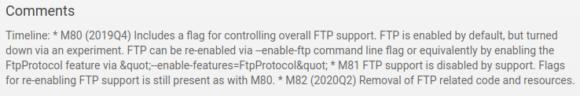 Ab Chrome 82 wird aller FTP-relevanter Code entfernt
