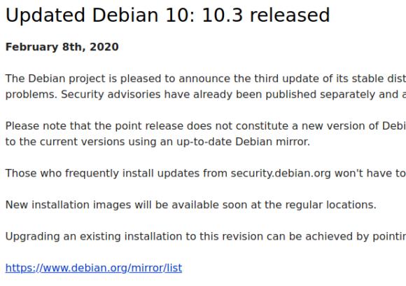 Debian 10.3 Buster wurde aktualisiert