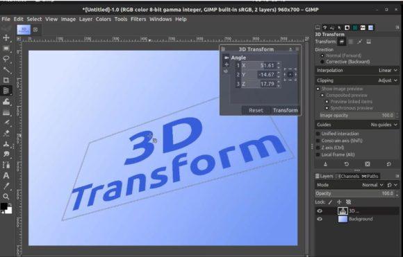 GIMP 2.10.18 – 3D-Transformationen durchführen