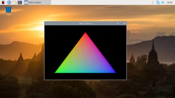 Das erste Vulkan-Dreieck auf einem VideCore VI (Quelle: raspberrypi.org)