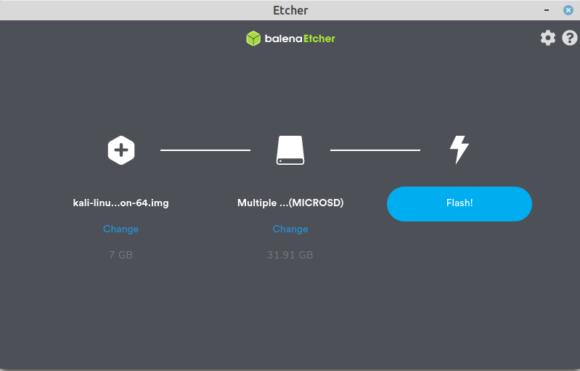 Mit Etcher ist Kali Linux unkompliziert auf einer microSD-Karte installieren, die Du dann im Raspberry Pi benutzt