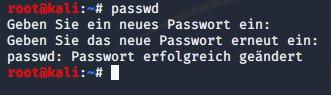 Das Passwort von Kali Linux wurde erfolgreich geändert