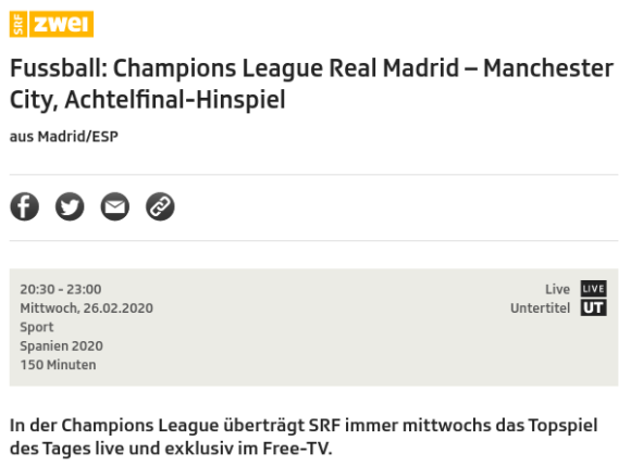 Real Madrid gegen Manchester City live bei SRF2
