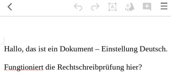 Rechtschreibung auf Deutsch funktioniert, wenn das Dokument so eingestellt ist