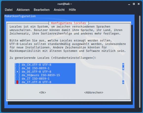 dpkg-reconfigure locales – Sprache einstellen