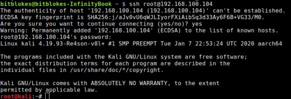 Zugriff per SSH ist bei per Standard Kali Linux aktiviert, aber root / toor ist natürlich nicht besonders sicher