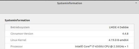Systeminformationen: Linux-Kernel 4.19 und Cinnamon 4.4.8