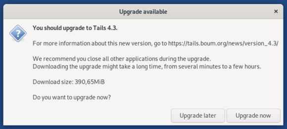 Upgrade auf Tails 4.3 – mache ich