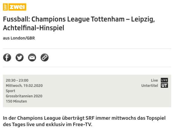 Tottenham gegen Leipzig live bei SRF2