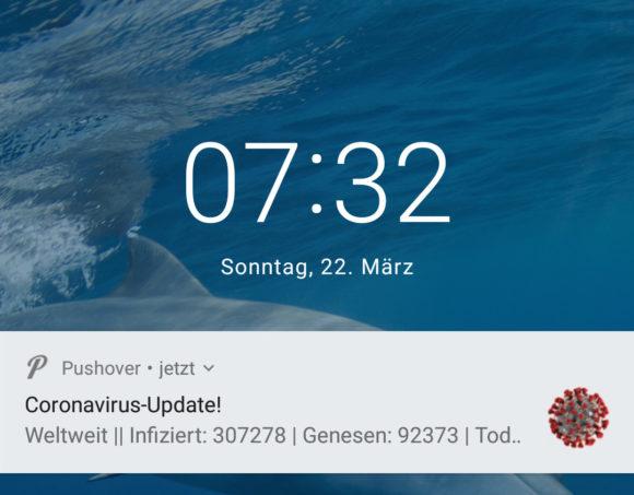 Update zu Coronavirus auf den gesperrten Bildschirm