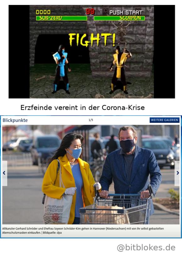 Sub-Zero und Scorpion: Normalerweise erbitterte Feinde – während der Corona-Krise gemeinsam beim Einkaufen