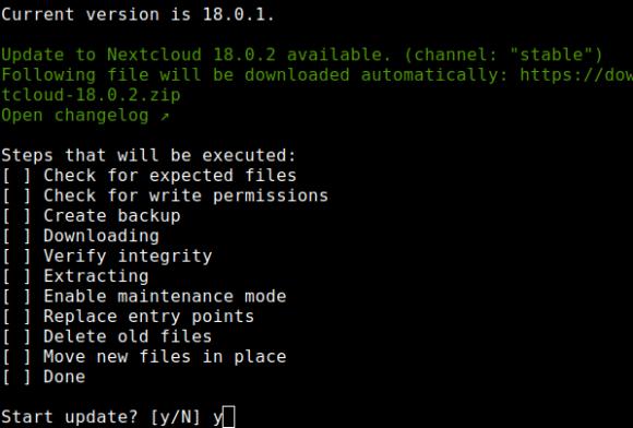 Nextcloud 18.0.2 wird eingespielt