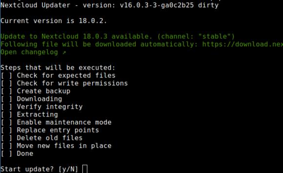 Upgrade auf Nextcloud 18.0.3 ist verfügbar