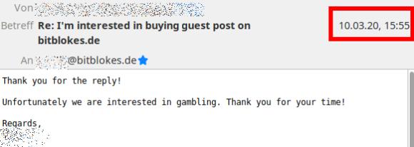 Fast täglich bekomme ich Anfragen von Online-Casinos