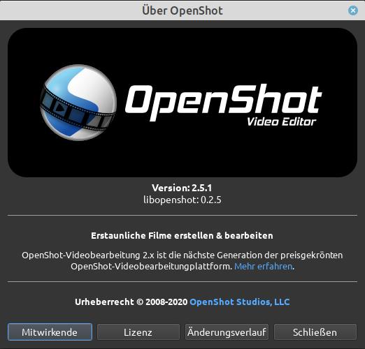 OpenShot 2.5.1 als AppImage unter Linux ausgeführt