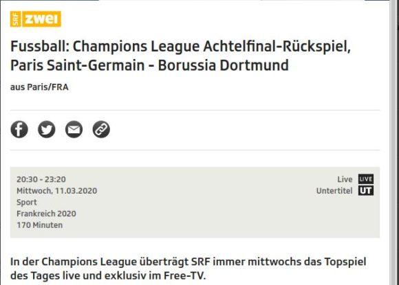 Paris Saint-Germain – Borussia Dortmund live auf SRF2
