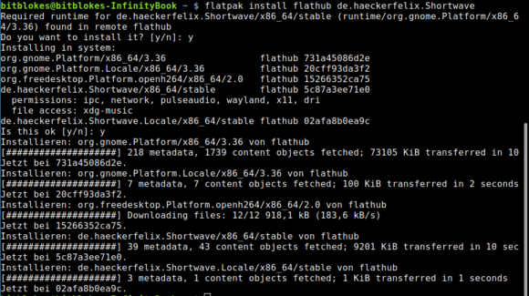Shortwave via Flathub installieren