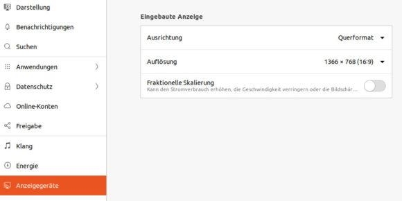 Fraktionelle Skalierung in Ubuntu 20.04 LTS Focal Fossa