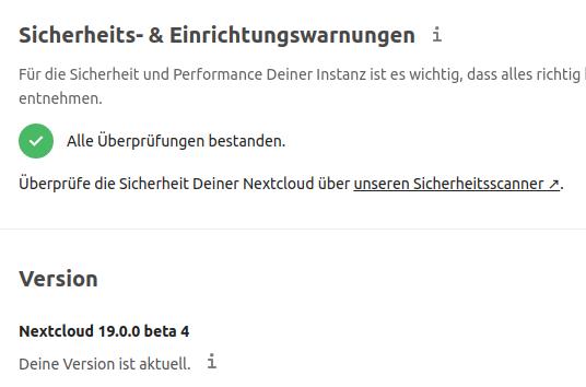 Wieder alles in Ordnung bei Nextcloud 19 Beta 4