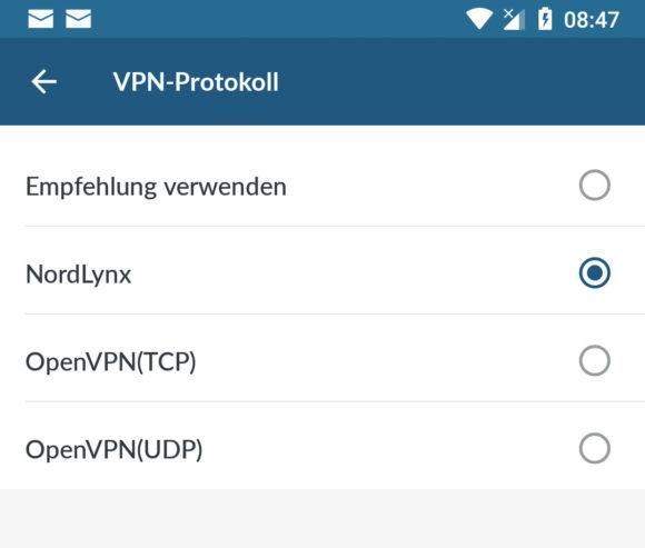 NordLynx bei Android einstellen