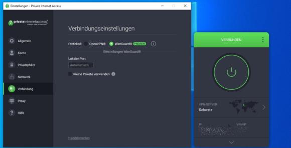 Auch der Windows Client von PIA stellt WireGuard zur Verfügung