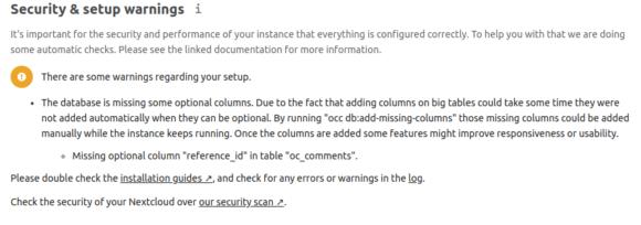 Nextcloud 19 fehlt eine Spalte in der Datenbank