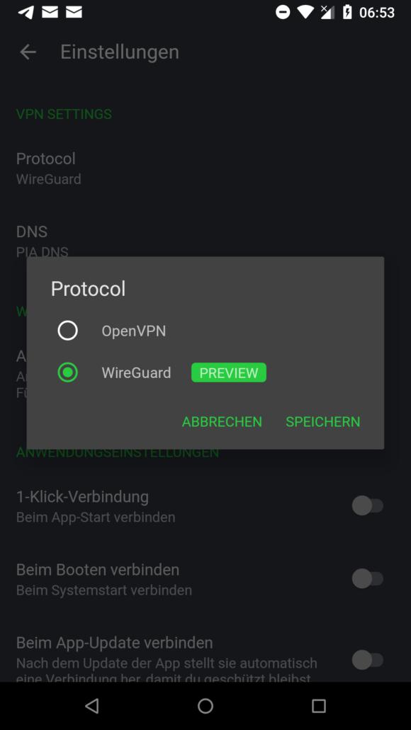 WireGuard im Android Client von Private Internet Access