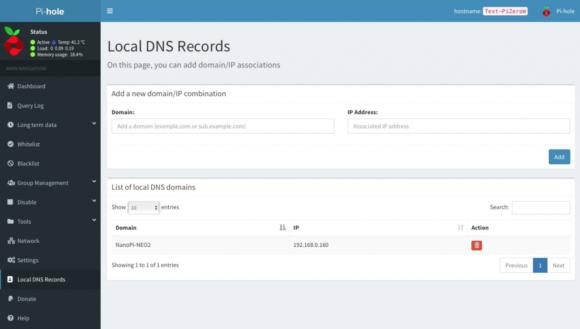 Local DNS Record (Quelle: pi-hole.net)