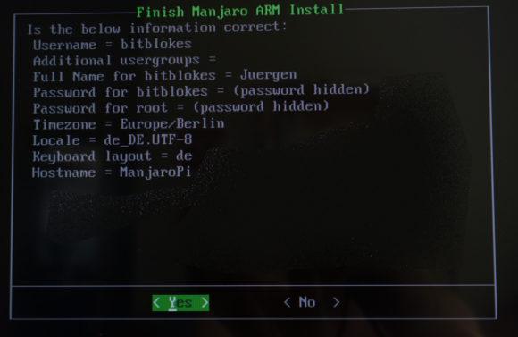 Manjaro Linux auf dem Raspberry Pi 4: Installation abschließen
