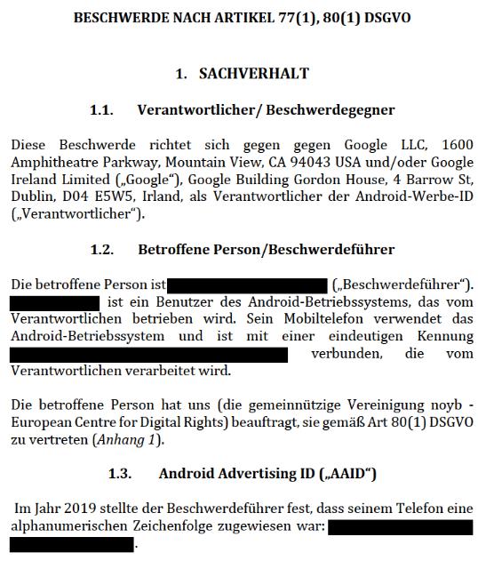 DSGVO-Beschwerde gegen die Android Advertising ID (AAID) eingereicht