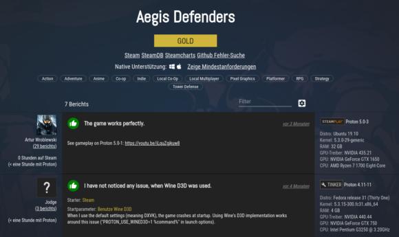 Aegis Defenders ist bei ProtonDB mit gold ausgezeichnet