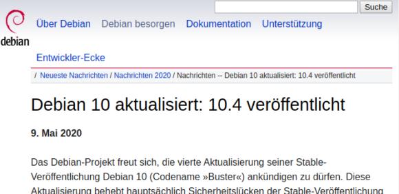 Debian 10.4 Buster ist verfügbar