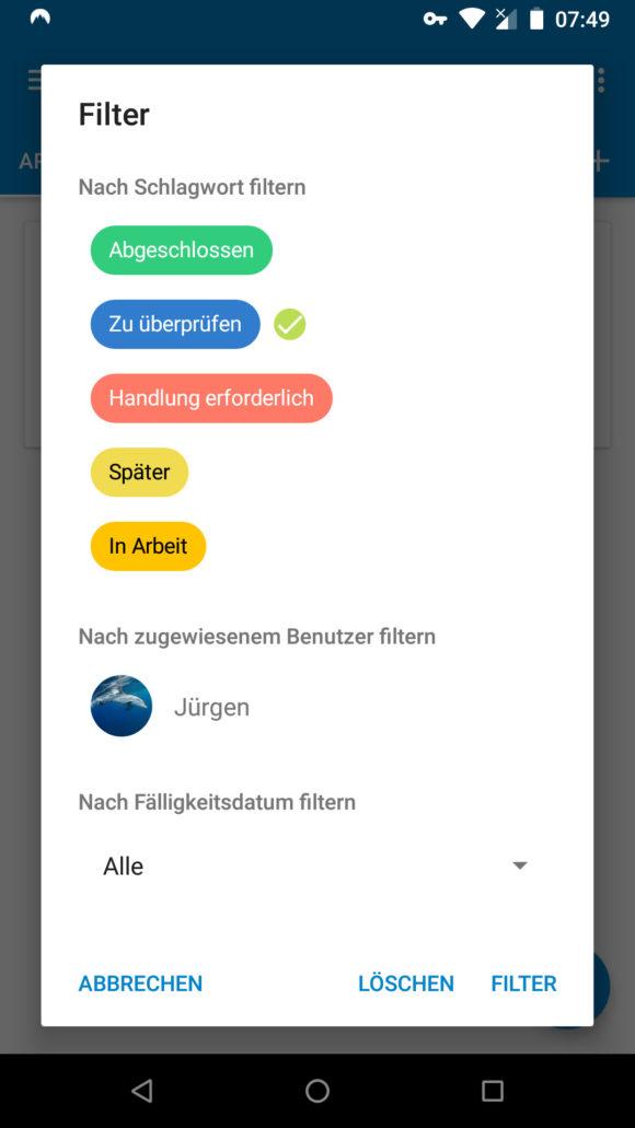 Nextcloud Deck für Android –nach Karten filtern