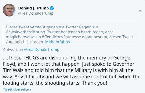 Twitter stuft diesen Tweet als gewaltverherrlichend ein