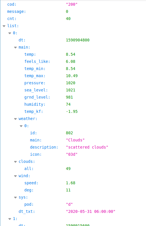 OpenWaetherMap.org liefert Daten im JSON-Format
