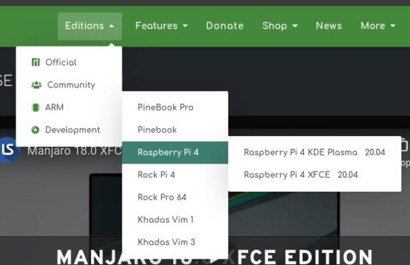 Manjaro für Raspberry Pi gibt es als Xfce- oder KDE-Variante