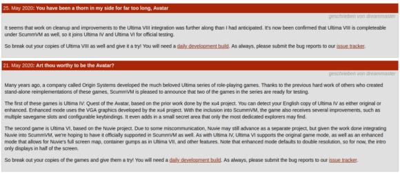 ScummVM testet Spiele aus der Ultima-Serie