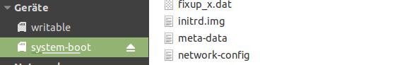 Suche auf der Partition system-boot nach der Datei network-config